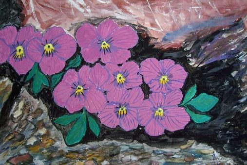 Alpine, Flowers, Painting, Image, Art