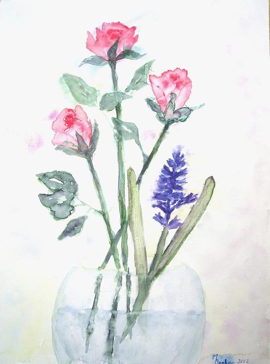 çiçek Buket Boyama Pixabayde ücretsiz Resim