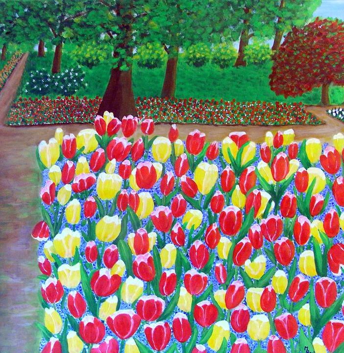 Tulpen, Blumen, Park, Blüten, Gemälde, Bild, Kunst