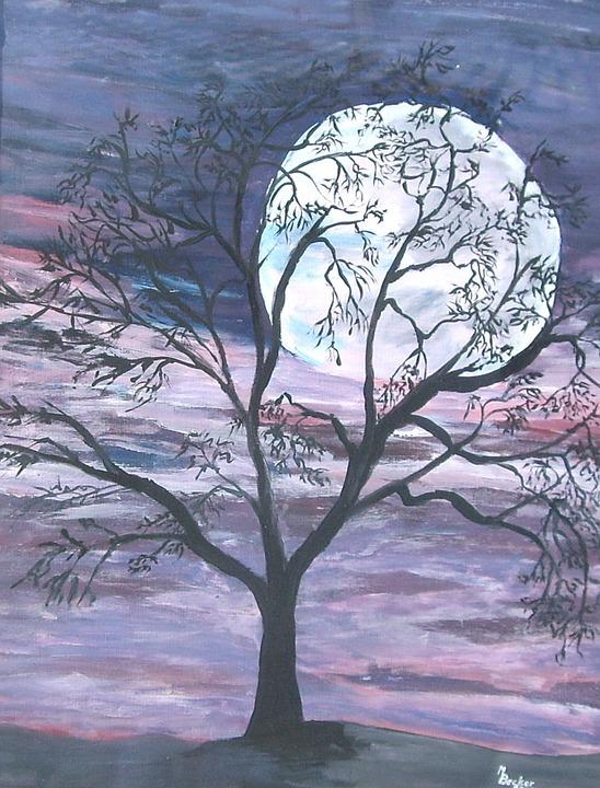 Bulan Purnama Pohon Gambar Gratis Di Pixabay