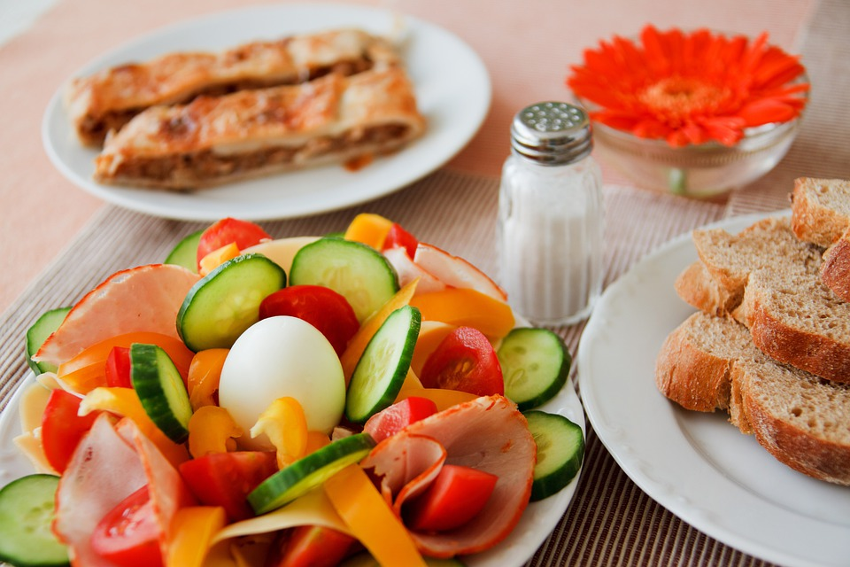 Bread, Breakfast, Cucumber, Egg, Ham, Salt, Diet, Food