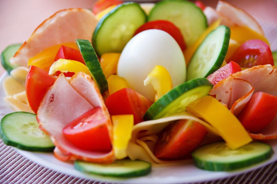 Prima Colazione, Cena, Uovo, Cibo, Fresco, Verde, Ham