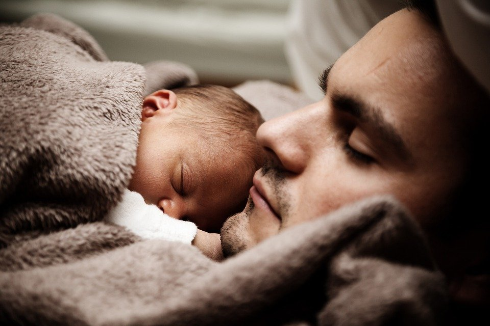 父、赤ちゃん、肖像画、幼児、新生児、子供、お父さん