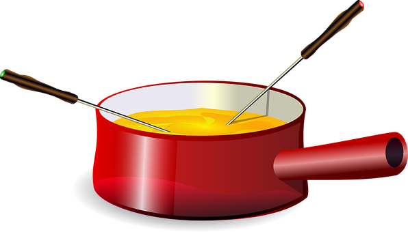 Fondue Cheese Pot Pan Melted Red Handle Di