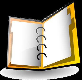 ノートブック, 日記, オープン, 空白, バインダー, フォルダー, 主催者