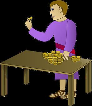 Homem, Contagem, Dinheiro, Moedas, Ouro