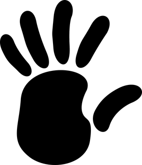 Handprint Fingers Palm Stop Black Shape Hu