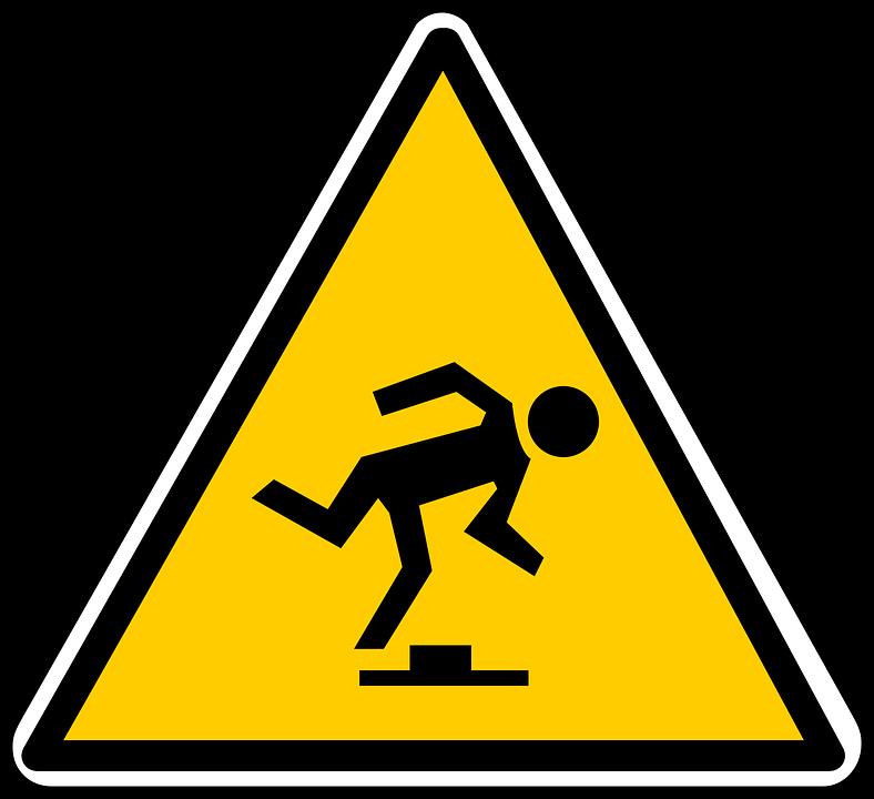 Zeichen, Stolpern, Herbst, Warnung, Vorsicht