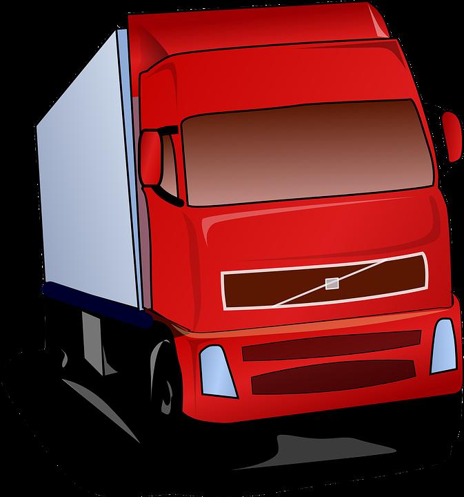 Lkw, Rot, Straße, Transport, Kommerziellen, Fahrzeug