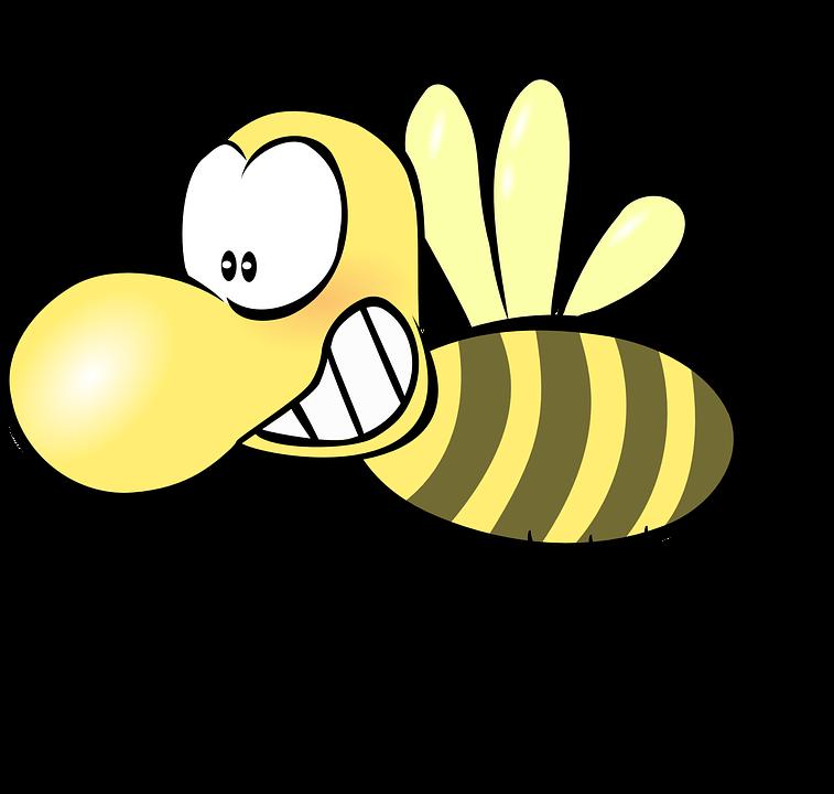 蜂, 蜂蜜, ワスプ, スズメバチ, おかしい, かわいい, コミック, 昆虫, 漫画, アンテナ, 翼