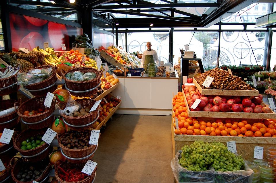 果物, ショップ, 市場, 食品, 新鮮な, ショッピング, 野菜, 有機, 製品, 自然, 販売, 様々な