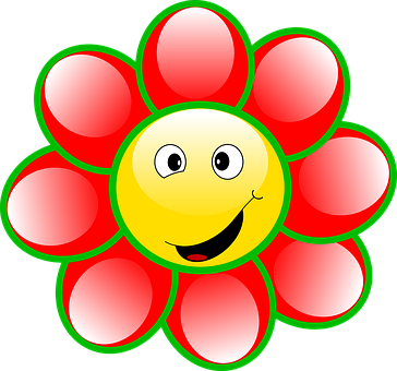 Smiley Flower Face Goofy Smile Cartoon Che