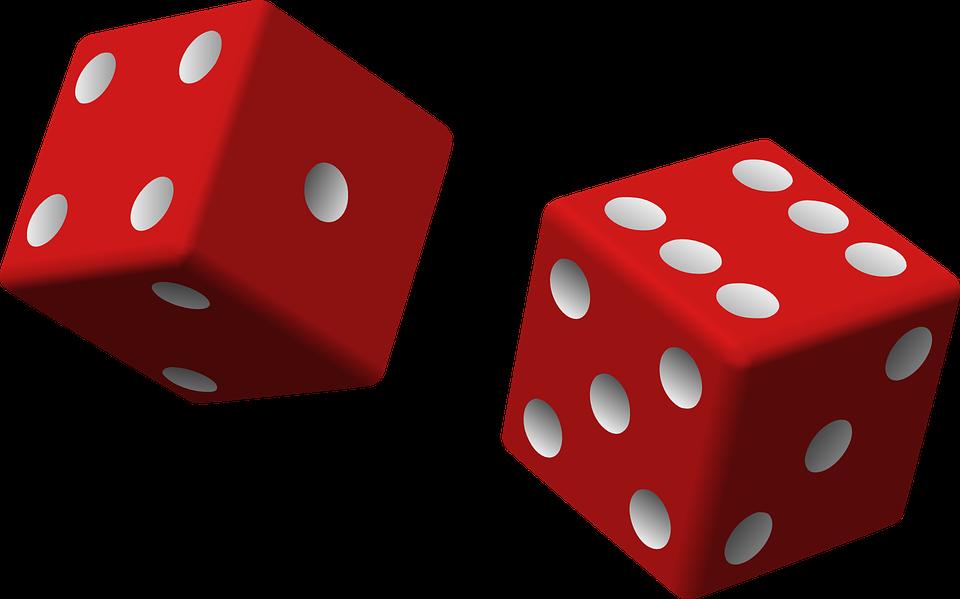 Dés, Red, Deux, Jeu, Roulant, Chance, Jeux De Hasard