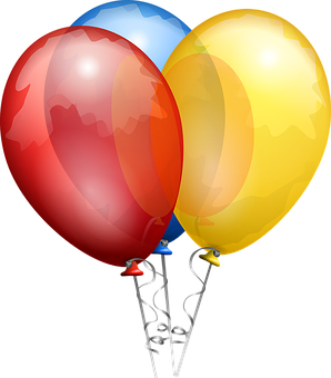 Balloons, Red, Blue, Yellow, Shiny