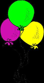 Balloons, Yellow, Pink, Green, Happy