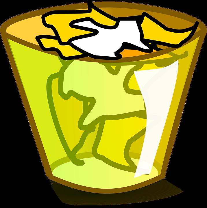 Trashcan, Trash, Garbage, Scrap, Yellow, Basket