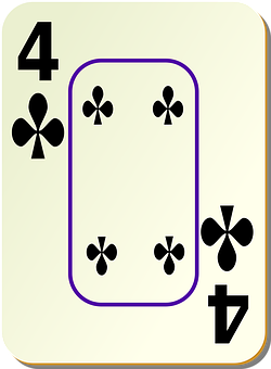 Four, Clubs, 4, Playing Cards, Card