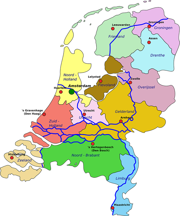 Netherlands Map Geography Free vector graphic on Pixabay