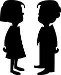 silhouettes, boy, girl
