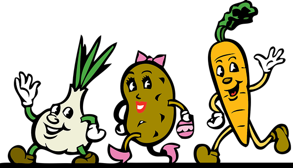Vegetables Cartoon Root Running