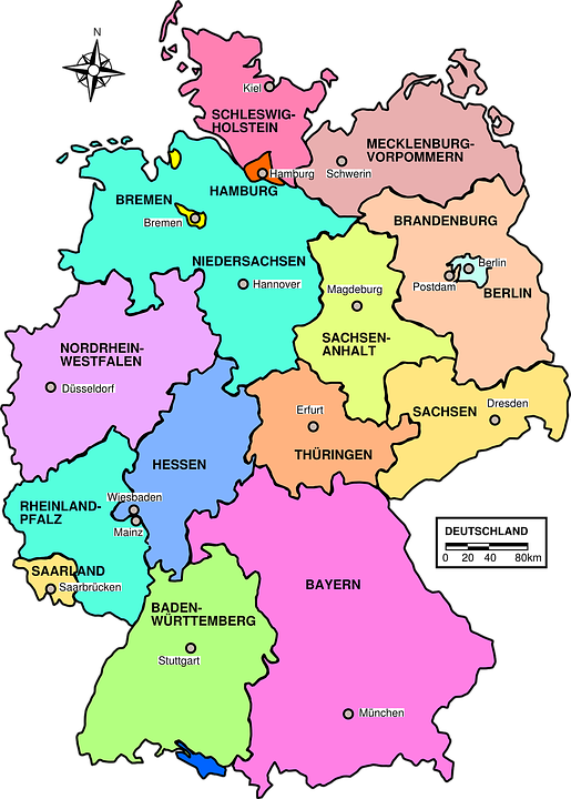 germany map political regions country europe