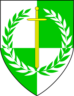 Laurel Wreath, Shield, Vines, Peace