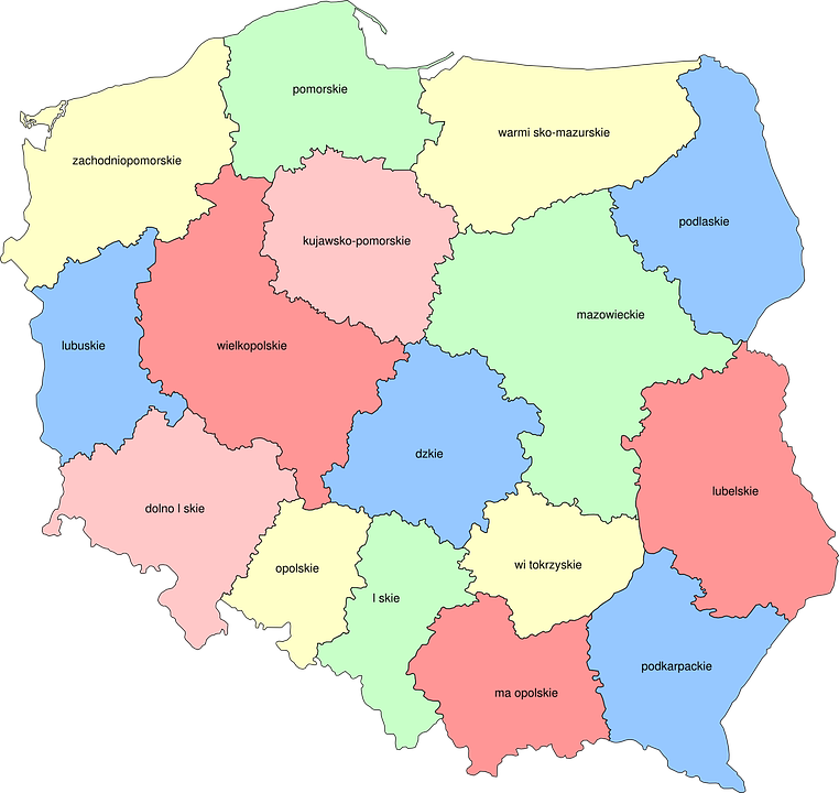 poland map provinces geography europe