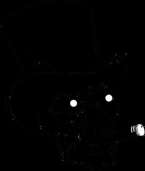 Skull Top Hat Silhouette Black Artwor