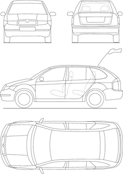 Blueprint Automobile Technical Drawing Des