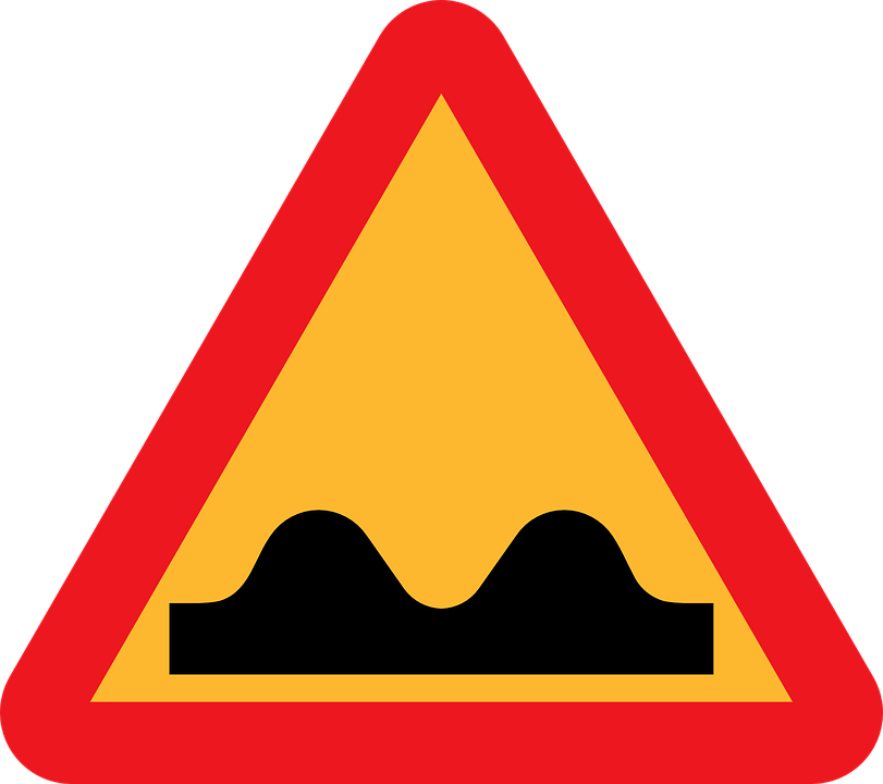 Caution Sign, Speed Bump Ahead, Roadsign, Rough Road