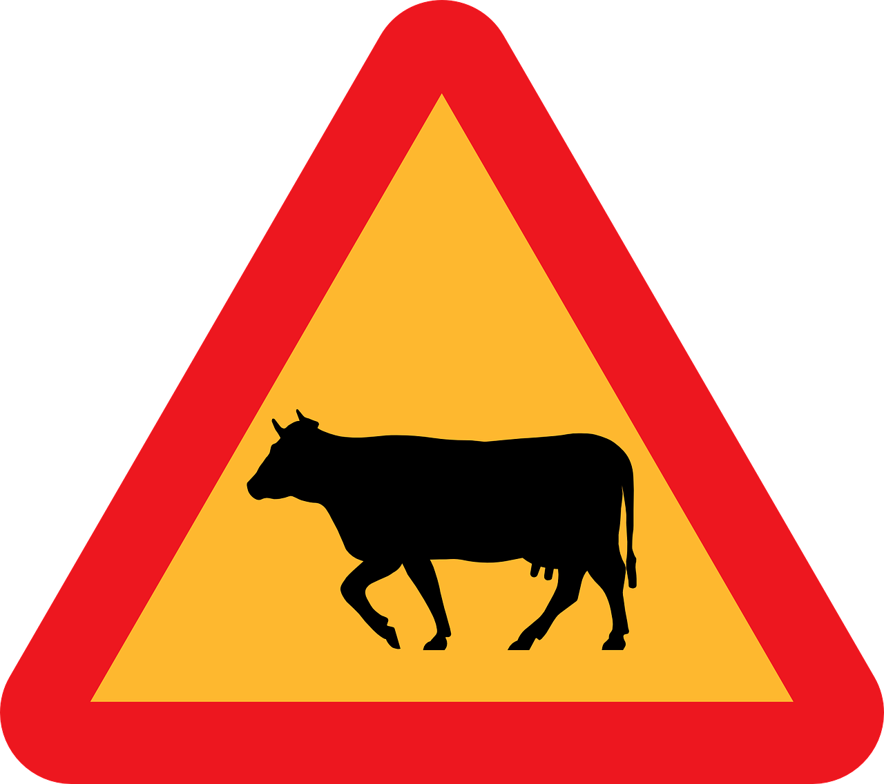 Cattle Crossing Roadsign Road Sign Free Vector Graphic On Pixabay