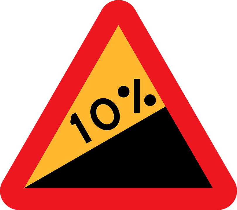 free vector graphic: steep hill upwards, roadsign - free image on
