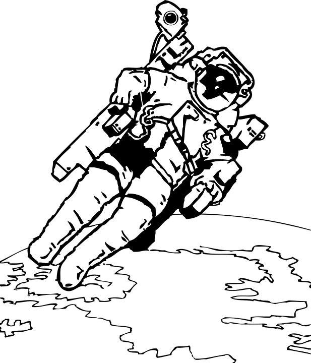 coloring pages of space walkers | Astronaut Space Walk · Free vector graphic on Pixabay