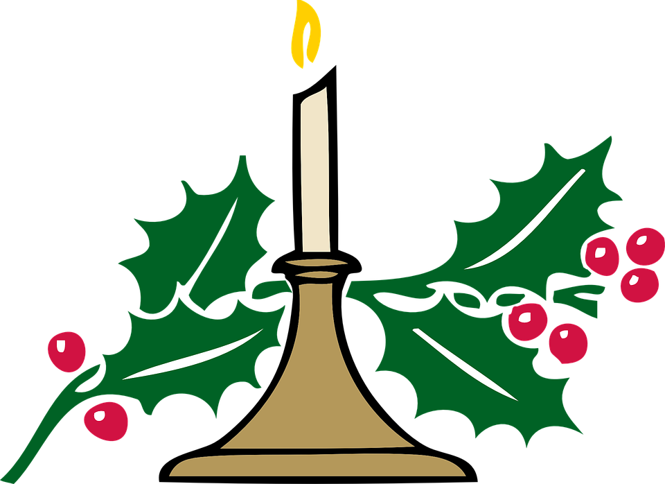 Christmas Candle Candlelight Holly Free Vector Graphic On Pixabay