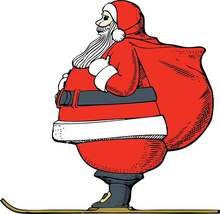 santa claus skiing cartoon red suit sack boots - Santa Claus Red