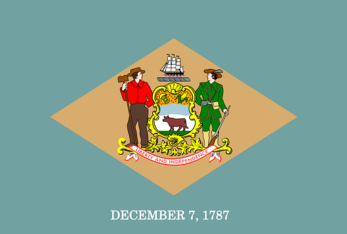 Delaware, Flag, State, America, Us, Usa
