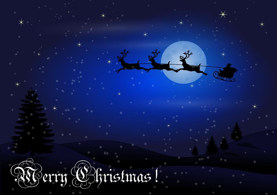 free vector graphic christmas night santa reindeer. Black Bedroom Furniture Sets. Home Design Ideas