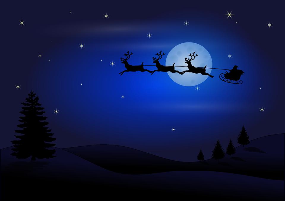 Lune, Silhouette, Santa Claus, Rennes, Santa, Claus