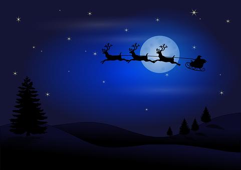 Lune, Silhouette, Santa Claus, Rennes