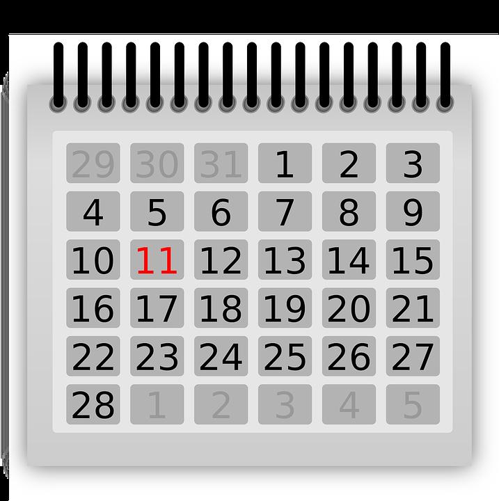 Kalendarz, Lutego, Jedenaście, Czerwony, Luty