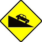 road sign, caution, steep