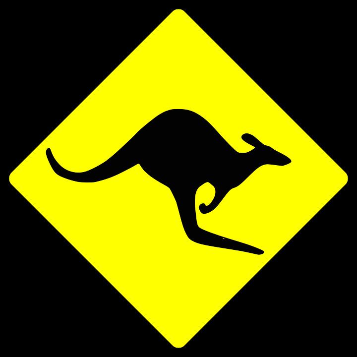 Anmelden, Symbole, Känguru, Australien, Silhouette
