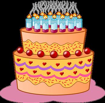 Birthday, Cake, Candles, Icing, Cream