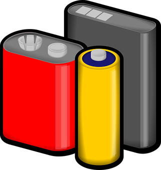 Batteries, Red, Yellow, Black, Voltage
