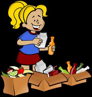 Recycler, Conteneurs, Jeune Fille
