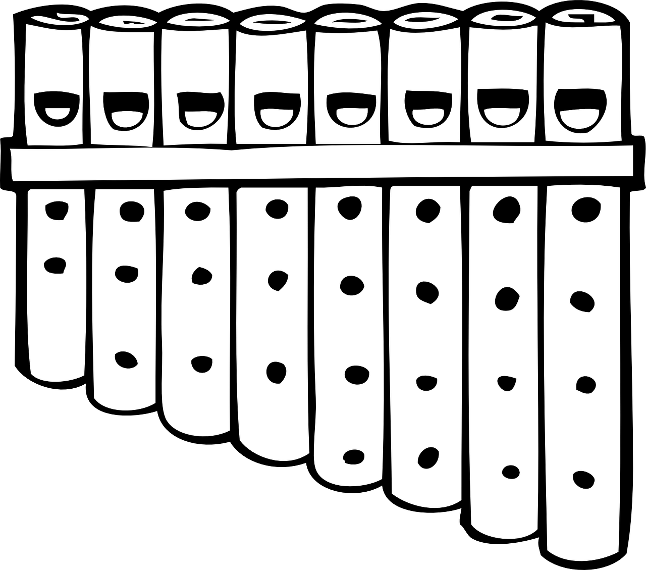 Флейта картинка черно белая