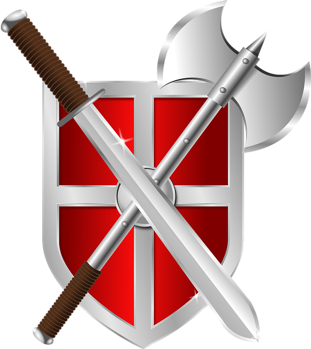 シールド, 斧, 剣, 紋章, 鎧, 戦士, シンボル, 中世の, ローマ, バイキング