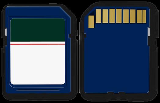 Sd Card, Memory, Card, Blue, Multimedia