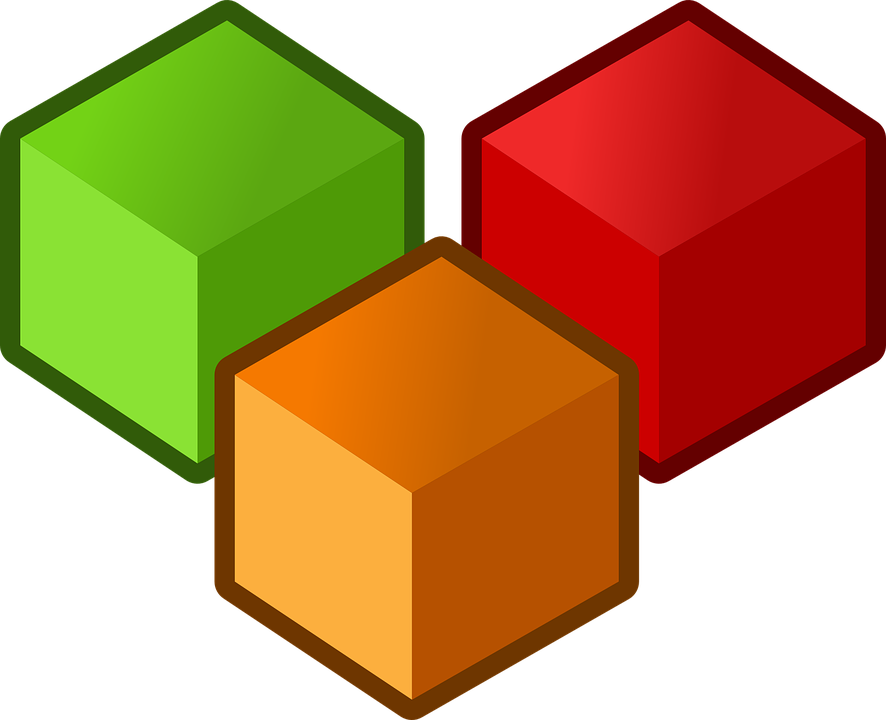 Cubes, Three, Objects, Red, Orange, Green, Shapes