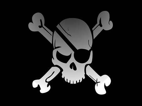 Skull, Crossbones, Pirate, Flag, Fade